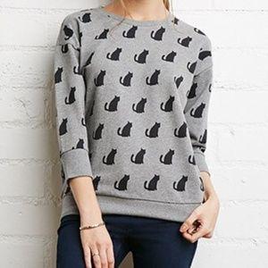Forever 21 Cream Crew Neck Pullover Cat Sweatshirt
